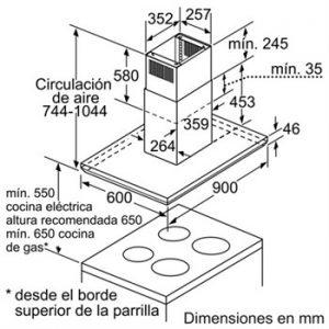 Kích thước của Máy Hút Mùi Độc Lập Bosch DIB098E50