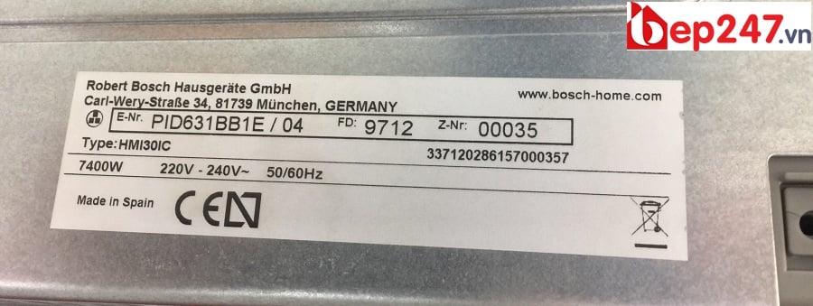 Tem nhãn và công suất của Bếp từ Bosch PID631BB1E