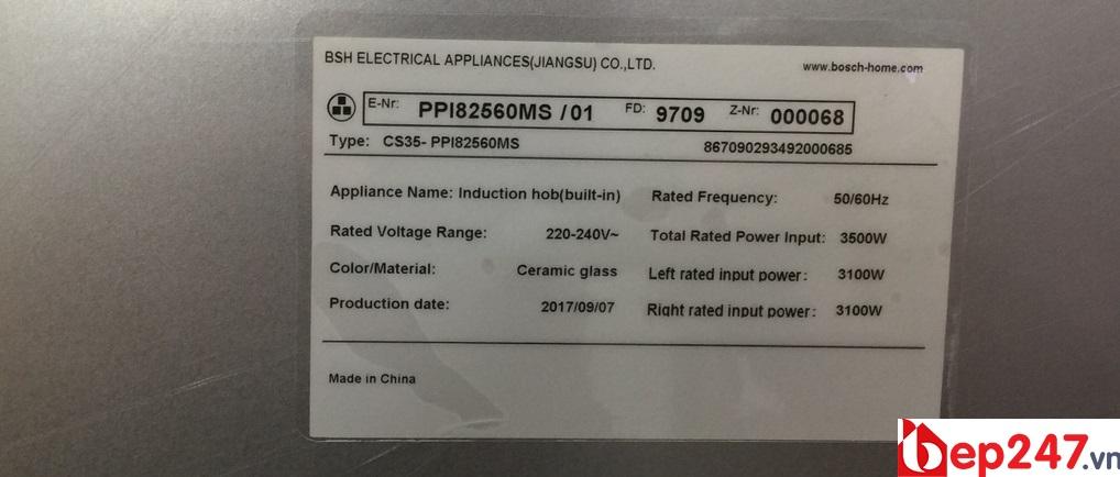 Tem nhãn và công suất của Bếp Từ Bosch PPI-82560MS
