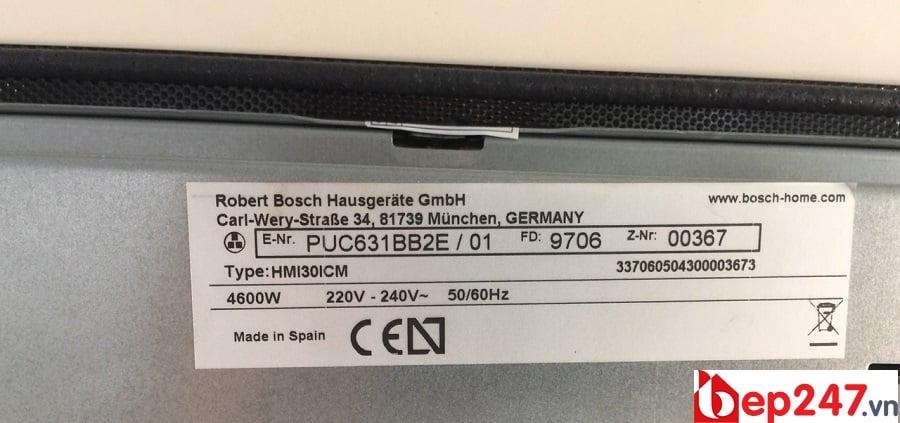 Tem nhãn và công suất của Bếp Từ Bosch PUC631BB2E