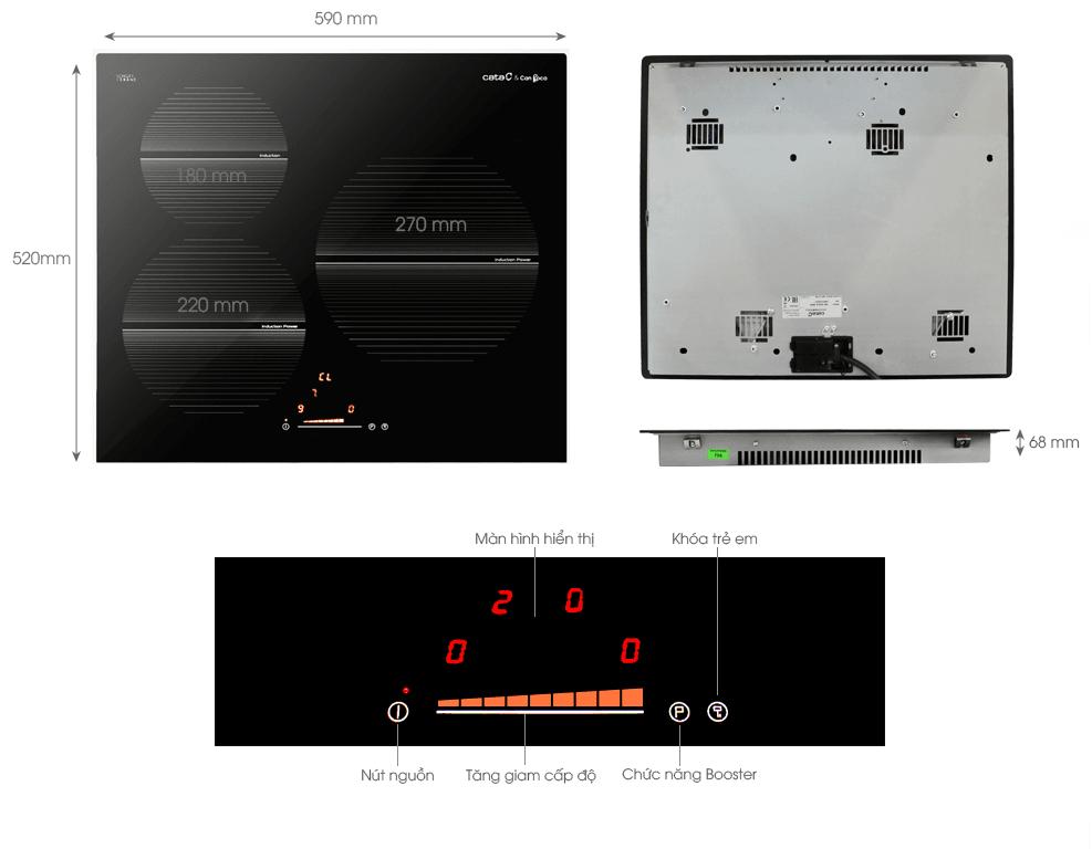 Cận cảnh các chi tiết của thiết bị bếp từ CataISB 603BBK