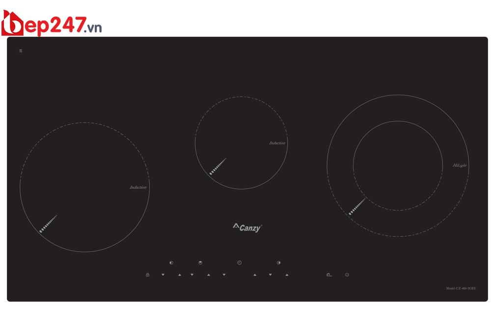 Bếp Điện Từ Canzy CZ-4003GES có thiết kế 3 mặt nấu