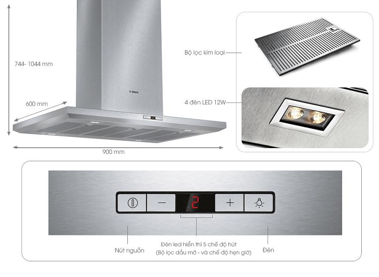Các chi tiết Máy hút mùi độc lập Bosch DIB098E50