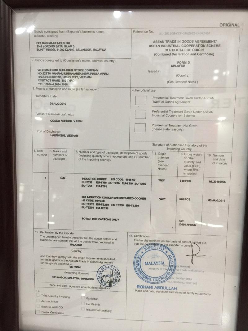 Hình ảnh giấy bản quyền Bếp điện từ Eurosun EU-TE226Plus.