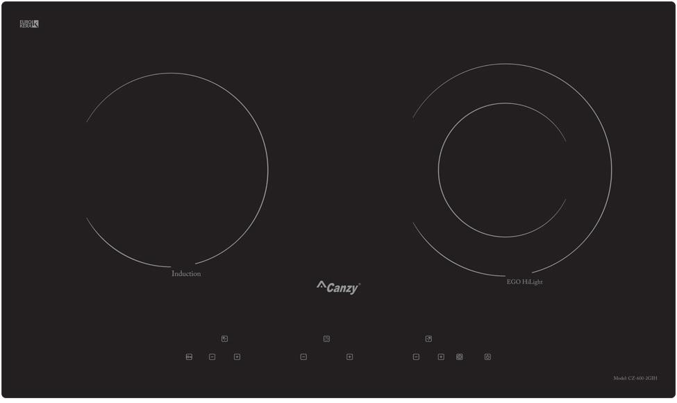 Bếp Điện Từ Canzy CZ 600-2GIH có thiết kế 2 mặt nấu