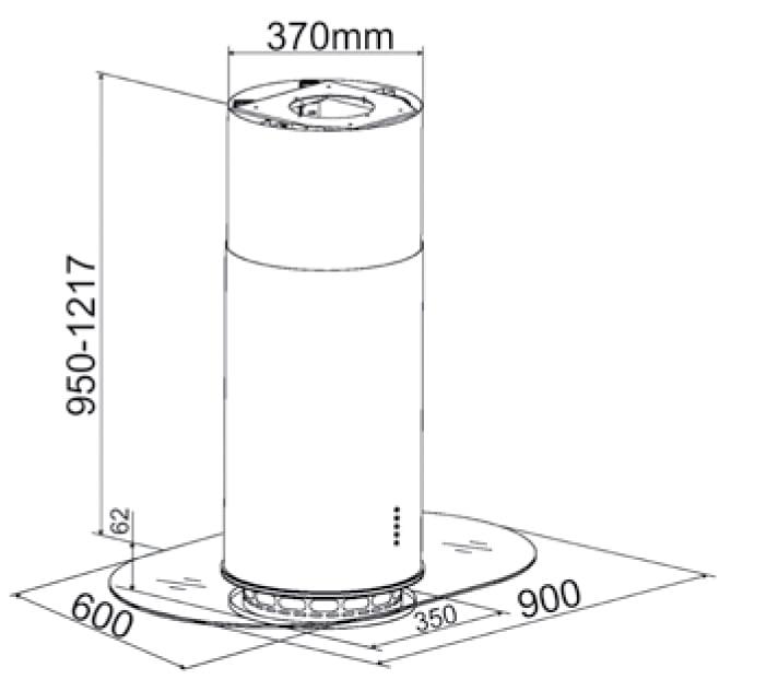 Kích thước của Máy Hút Mùi Bàn Đảo Canzy CZ-350C