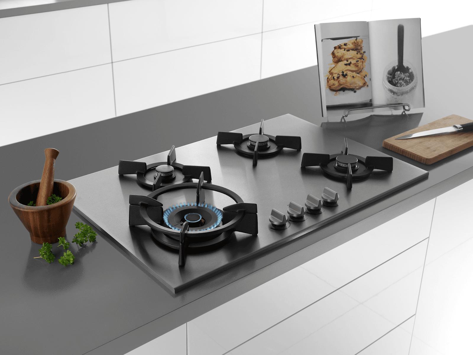 Mẫu bếp ga âm với kiểu dáng sang trọng hiện đại