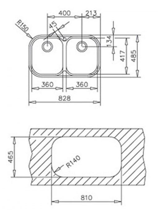 Kích thước của chậu rửa Teka StYLO 2B