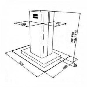 Thông số lắp đặt của máy hút mùi DG3 ISLA 980