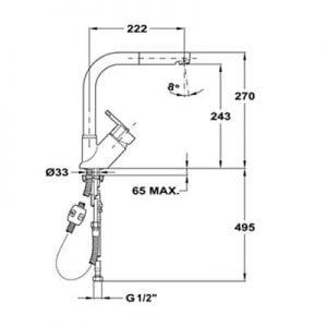 Kích thước của vòi rửa Teka ELAN