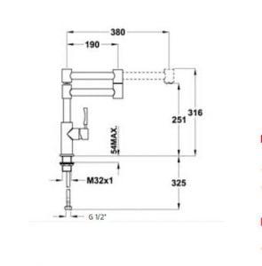 Kích thước của vòi rửa Teka INX 983