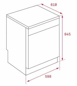 Kích thước của Máy rửa chén bát Teka LP9 850