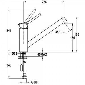 Kích thước của vòi rửa Teka AUK 913 MB