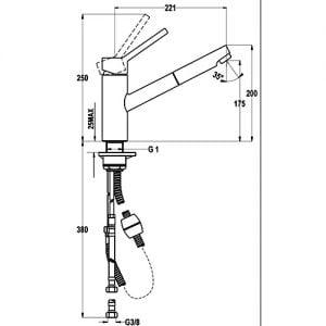 Kích thước của Vòi rửa Teka VTK 978