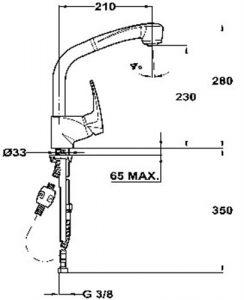 Kích thước của Vòi rửa Teka MB2- PULL OUT HIGH