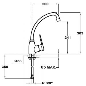 Kích thước của Vòi rửa Teka IN 912