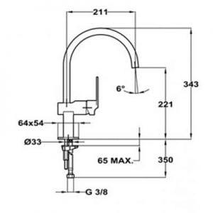Kích thước của vòi nước Teka CUADRO