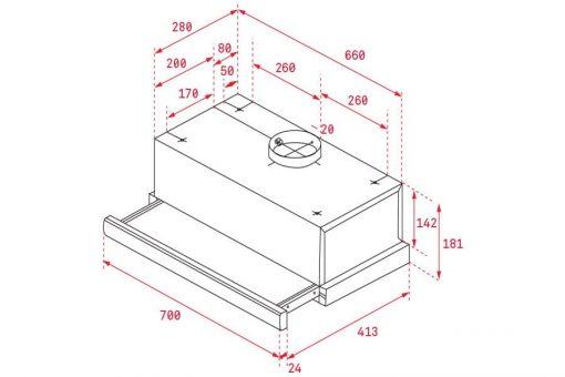 Thông số lắp đặt của máy hút mùi Teka TL 7420