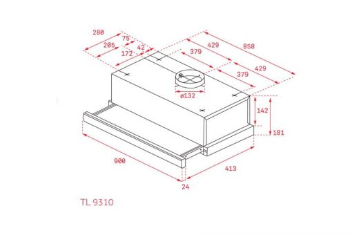 Thông số lắp đặt của máy hút mùi TL 9310