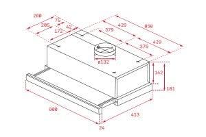 Thông số lắp đặt của máy hút mùi TLR2 92 SS