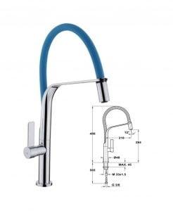 Kích thước Vòi rửa Teka FORMENTERA 997 BLUE