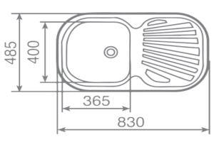 Kích thước của chậu rửa Teka STYLO 1B.1D
